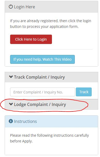 Lodge Complaint / Query